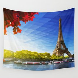 The Pinnacle of Light - Eiffel Tower & River Seine - Paris Wall Tapestry