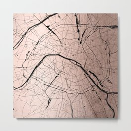 Paris France Minimal Street Map - Rose Gold Glitter on Black Metal Print