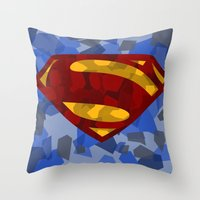 man of steel Throw Pillows featuring MAN OF STEEL by thebuffaloarmy