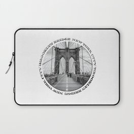 Brooklyn Bridge New York City (black & white with text) Laptop Sleeve