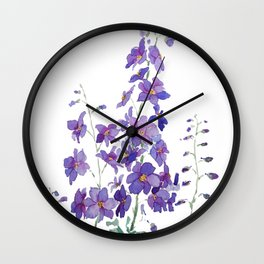 purple blue delphinium watercolor Wall Clock