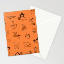 Gilmore Girls Quotes in Orange Stationery Cards