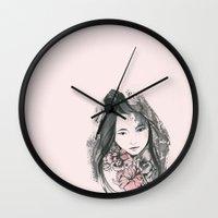 viria Wall Clocks featuring pale flowers by viria