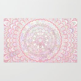 Light Coral and White Mandala Rug