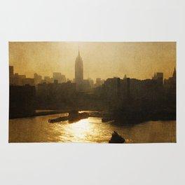 Vintage Empire State Building Sunrise Rug