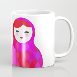 Russian doll matryoshka screw up one's eyes with bright rhombus on white background, pink colors Coffee Mug