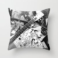 records Throw Pillows featuring Records by Emily Morris