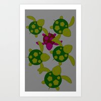turtles Art Prints featuring Turtles  by MillennialBrake