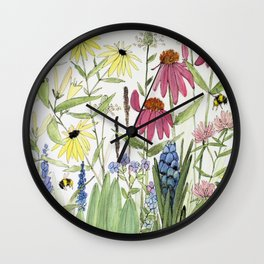 Flowers on White Painting Wall Clock