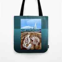 geology Tote Bags featuring The Geology of Boating by Patricia Howitt