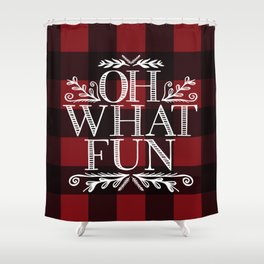 Oh What Fun Red Shower Curtain