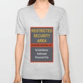 Restricted Security Area Unisex V-Neck