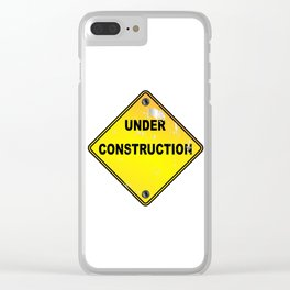 Yellow Under Construction Sign Clear iPhone Case