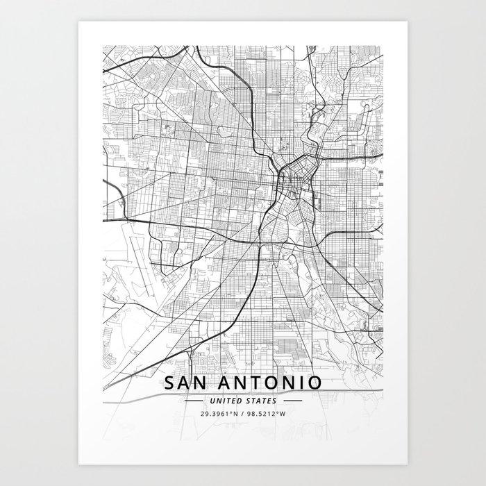 San Antonio, United States - Light Map Kunstdrucke