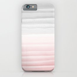 Touching Blush Gray Watercolor Abstract Stripe #1 #painting #decor #art #society6 iPhone Case