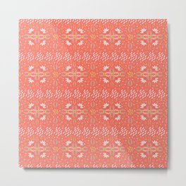 Coral Daisies Patchwork Cosy Homely Quilt Design Metal Print