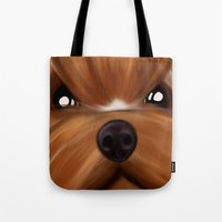 yorkie Tote Bags featuring Yorkie face by Mario Laliberte
