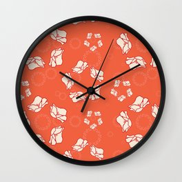 Poppy Pattern Collection - Red Background & Cream Flowers Wall Clock