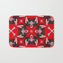 Vampire Bat Face Geometric Pattern Bath Mat