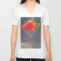 cocktail V-neck T-shirts featuring Strawberry cocktail  by Nobra