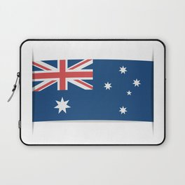 Flag of Australia. The slit in the paper with shadows.  Laptop Sleeve