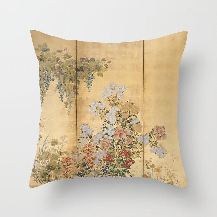 Japanese Edo Period Six-Panel Gold Leaf Screen - Spring and Autumn Flowers Deko-Kissen