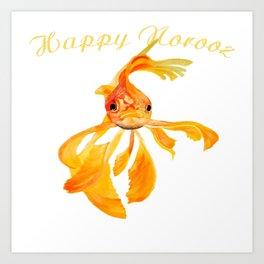 Happy Norooz Persian New Year Goldfish Isolated Art Print