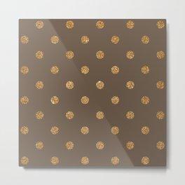 Umber Gold Glitter Dot Pattern Metal Print