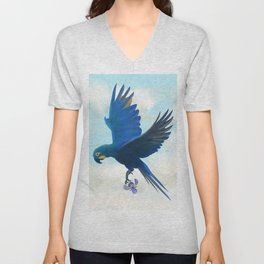 Lear's Blue Macaw Flying with an Orchid Unisex V-Neck