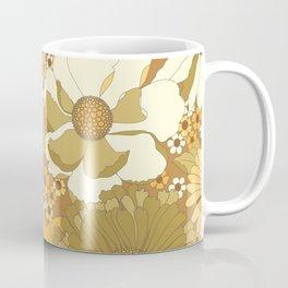 Brown, Orange, Ivory & Green Vintage Flower Pattern Coffee Mug
