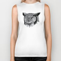 owl Biker Tanks featuring Owl by Puddingshades