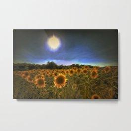 Moonlit Sunflowers Metal Print