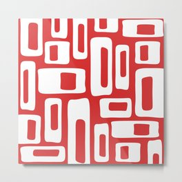 Retro Mid Century Modern Abstract Pattern 335 Red Metal Print