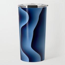 Blue Satin Stripes Travel Mug