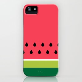Pink and Green Watermelon Fruit Stripes iPhone Case