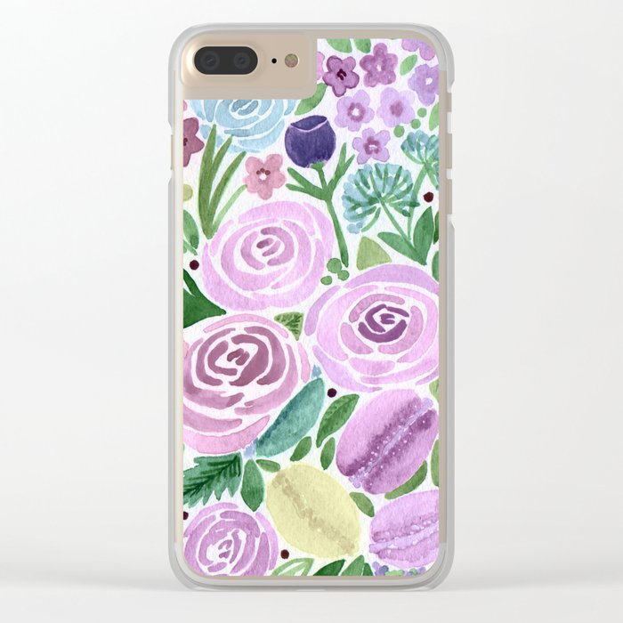 Watercolor . Macaroons in the colors . Clear iPhone Case