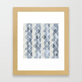 Simply Braided Chevron Indigo Blue on Lunar Gray Framed Art Print