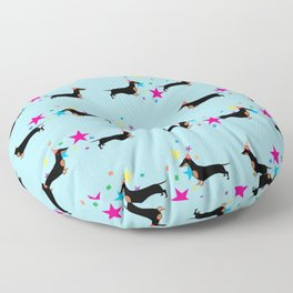 Party Dachshund Dog with Party Hat and Confetti on Blue Background Floor Pillow