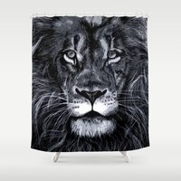 king Shower Curtains featuring King by Karina Mariani