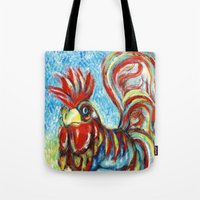 cock Tote Bags featuring COCK STRUT by RaE Bright