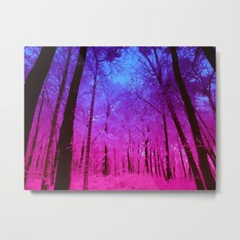 Fuchsia Violet Ombre Forest Metal Print