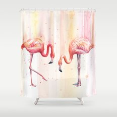 Two Flamingos Watercolor Tropical Birds Animals Shower Curtain