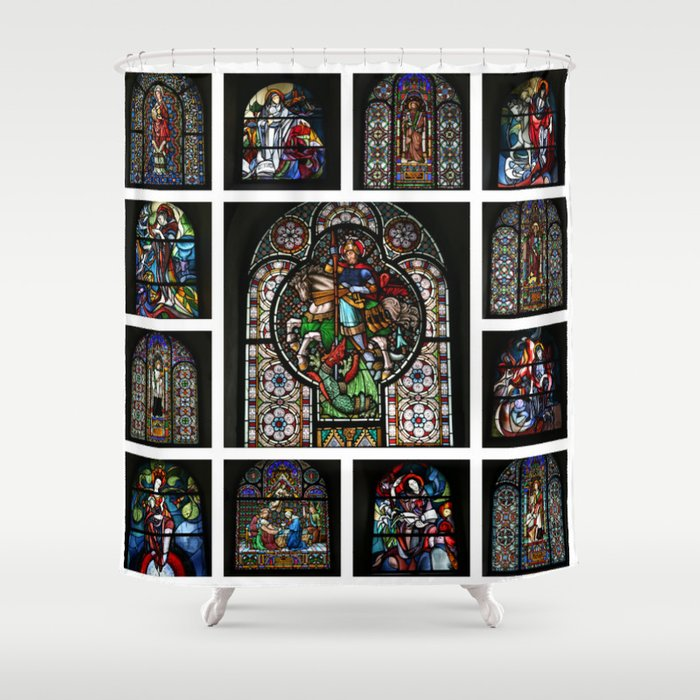 Stained Glass Windows Collage Shower Curtain