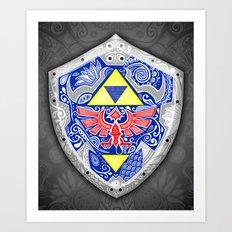 Zelda's shield - black Art Print