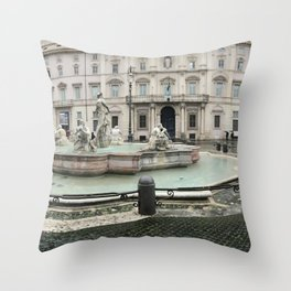 3 legged man in Piazza Navona Rome Italy Throw Pillow