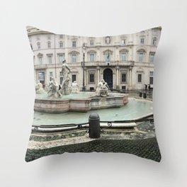 3 legged man in Piazza Navona Rome Italy Throw Pillow