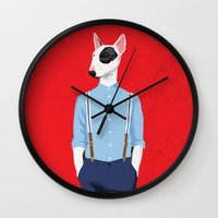 bull terrier Wall Clocks featuring Skinhead Bull Terrier by drawgood