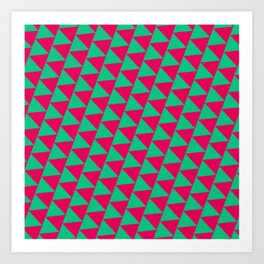 Green and pink triangle graphic Art Print