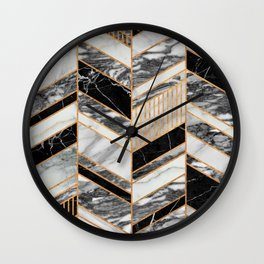 Abstract Chevron Pattern - Black and White Marble Wall Clock