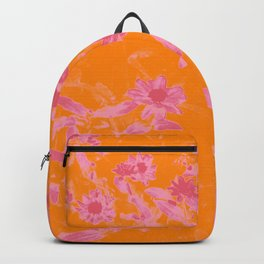 Floral trio tone photograph with orange and pinks Backpack